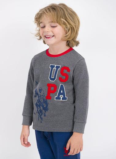 U.S. Polo Assn. Lisanslı Açık Kırmızı Erkek Çocuk Eşofman Takımı Gri